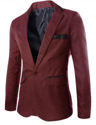 Stylish Lapel Slimming One Button PU Leather Splicing Long Sleeve Polyester Blazer For Men - WINE RED
