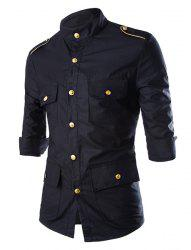 Stylish Stand Collar Slimming Multi-Pocket Epaulet Design Three-Quarter Sleeve Polyester Shirt For Men