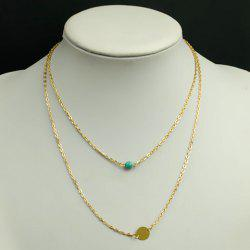 Simple Design Turquoise Embellished Pendant Double-Layer Necklace For Women -