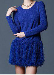 Vintage Scoop Neck Long Sleeves Print Fringe Splicing Dress For Women