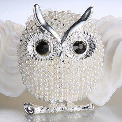 Faux Pearl Alloy Owl Brooch - Or Blanc