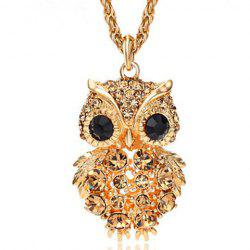 Stylish Diamante Owl Pendant Sweater Chain For Women -