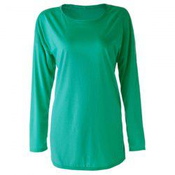 Scoop Neck Plain Zipper Embellished Long Sleeves T-Shirt