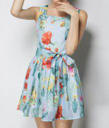 Vintage Square Neck Sleeveless Floral Print Dress For Women -