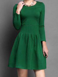 Vintage Scoop Neck Long Sleeves Solid Color A-Line Dress For Women -