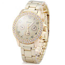 Geneva Diamond Decorative Sub-dials Quartz Watch Stainless Steel Band for Women -