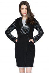 Trendy Style V-Neck Long Sleeve Faux Leather Splicing Women's Coat -