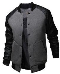 Stylish Stand Collar Slimming Large Pocket Color Splicing Long Sleeve Polyester Jacket For Men - DEEP GRAY