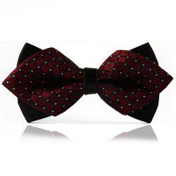 Chic Checked Pattern Design Double-Deck Bow Tie For Men - WINE RED/BLACK