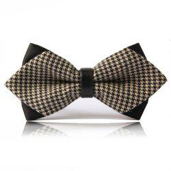 Chic Swallow Gird Print Double-Deck Bow Tie For Men - LIGHT CAMEL