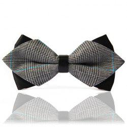 Chic Stripe Splice Design Double-Deck Bow Tie For Men - BLACK AND GREY
