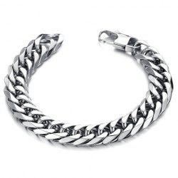 Stylish Solid Color Link Chain Bracelet For Men - SILVER