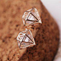 Pair of Crown Shape Rhinestone Openwork Earrings -