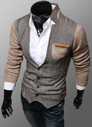 Trendy PU Leather Embellished Pocket Stand Collar Slimming Fabric Splicing Long Sleeves Men's Coat - KHAKI 2XL