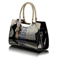 Gorgeous Patent Leather and Engraving Design Women's Tote Bag - BLACK