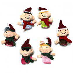 6pcs Christmas Small - Sized Family Plush Finger Puppets Kids Talk Prop -
