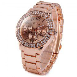 Geneva Diamond Bezel Decorative Sub-dials Quartz Watch Stainless Steel Band for Women