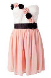Sweet Style Strapless Color Block Stereo Flower Women's Dress -