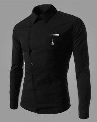 Novel Turn-down Collar Inclined Button Fly Slimming Deer Embroidery Long Sleeves Men's Shirt - BLACK