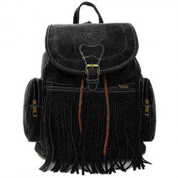 Retro Engraving and Fringe Design Women's Satchel - BLACK
