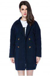 Stylish Lapel Neck Long Sleeve Solid Color Double-Breasted Loose-Fitting Women's Coat -