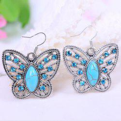 Pair of Chic Women's Turquoise Rhinestone Openwork Butterfly Pendant Earrings