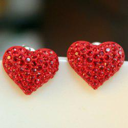 Pair of Cute Women's Rhinestone Decorated Heart Shape Earrings