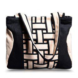 Casual Weaving and Color Block Design Women's Shoulder Bag -