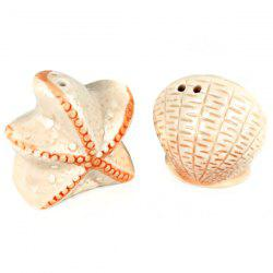 2pcs / Set Starfish and Shell Style Ceramics Seasoning Bottle Condiment Jar Kitchen Supplies Spice Tools -