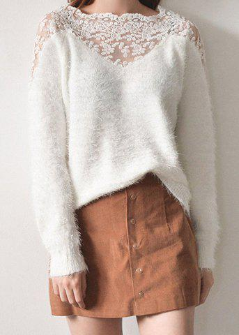 Chic Stylish Square Neck Lace Splicing Long Sleeve Fluffy T-Shirt For Women