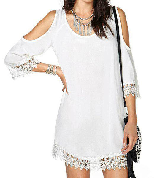 Outfits Stylish Scoop Neck 3/4 Sleeve Off-The-Shoulder Laciness Women's Dress
