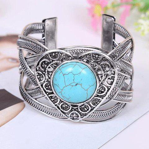 Vintage Faux Turquoise Heart Shape Openwork BraceletJEWELRY<br><br>Color: SILVER AND BLUE; Item Type: Charm Bracelet; Gender: For Women; Chain Type: Snake Chain; Style: Trendy; Shape/Pattern: Heart; Weight: 0.110KG; Package Contents: 1 x Bracelet;