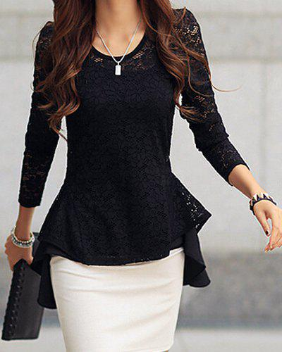 Sexy Scoop Neck Long Sleeve Lace Ruffled Blouse For Women 117577202