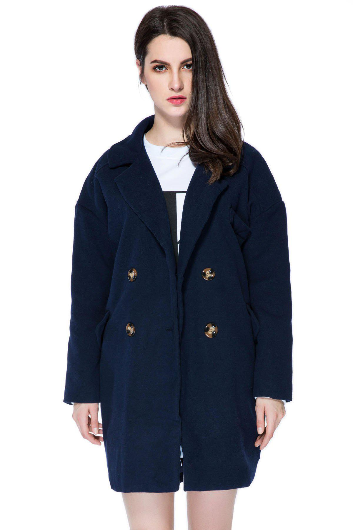 Best Stylish Lapel Neck Long Sleeve Solid Color Double-Breasted Loose-Fitting Women's Coat