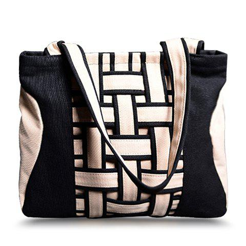 Latest Casual Weaving and Color Block Design Women's Shoulder Bag