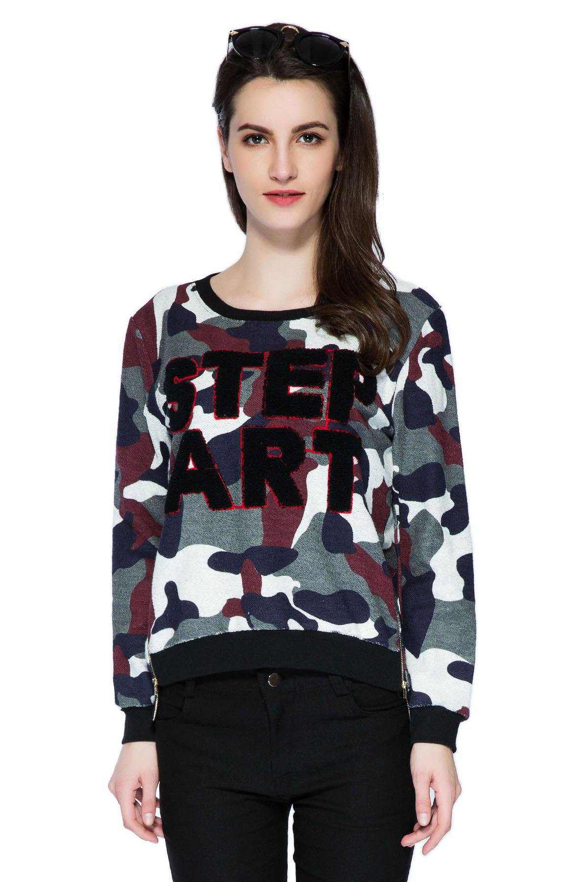 Latest Stylish Scoop Collar Long Sleeve Letter and Camouflage Pattern Women's Sweatshirt