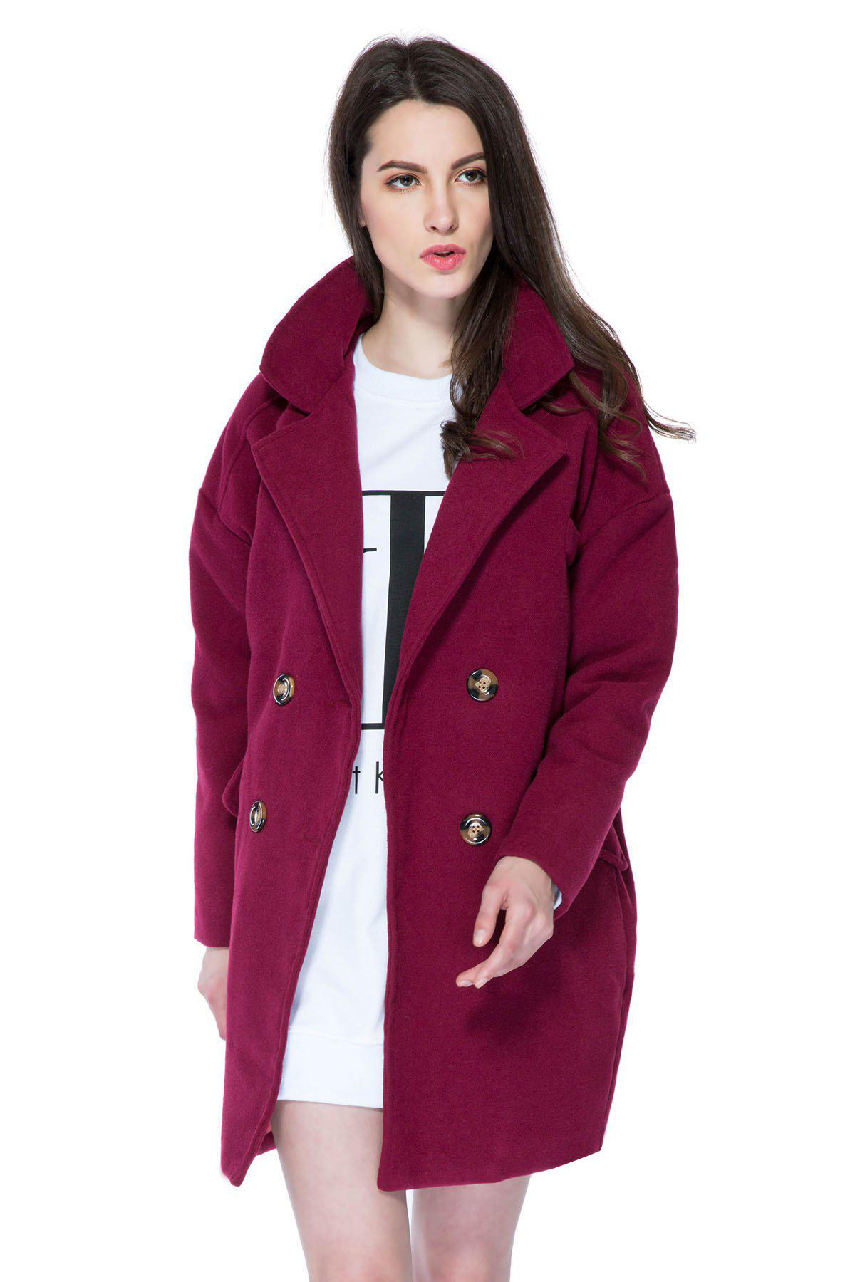 Shop Stylish Lapel Neck Long Sleeve Solid Color Double-Breasted Loose-Fitting Women's Coat