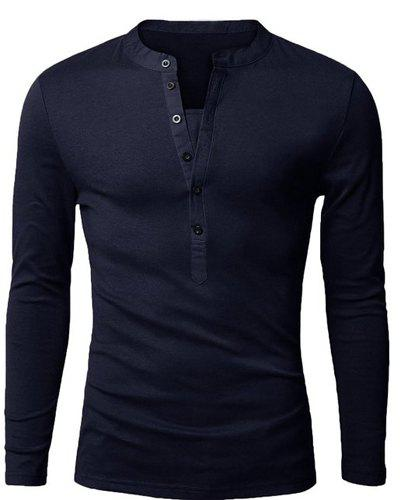 Stylish V-Neck Slimming Button Design Fabric Splicing Long Sleeve Polyester Polo Shirt For Men
