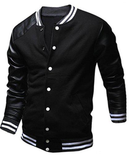 Trendy Stylish Stand Collar Slimming Color Block PU Leather Splicing Long Sleeve Polyester Jacket For Men
