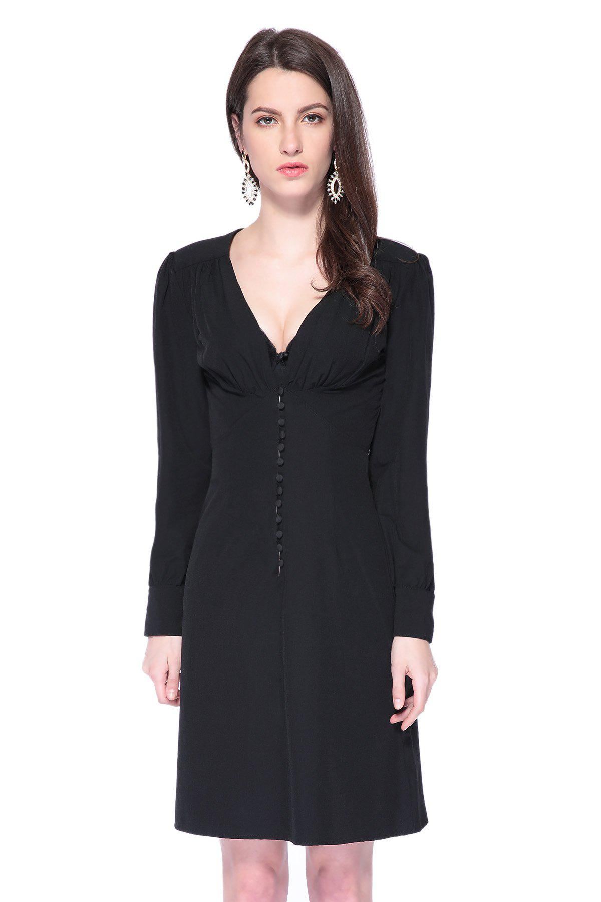 Discount Fashionable Plunging Neck Long Sleeve Black Single-Breasted Women s  Dress 48bb431465