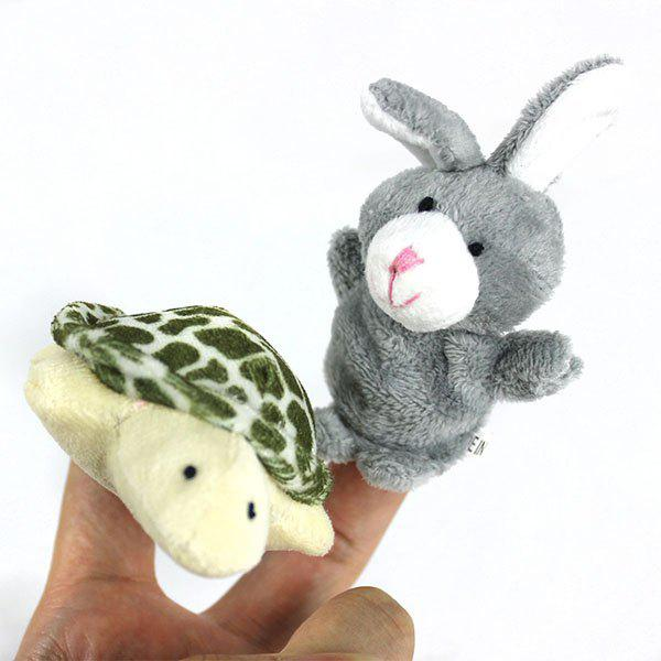 Store 2Pcs Cute Doll Design Plush Toy Finger Puppets Telling Story Doll Props Rabbit + Turtle