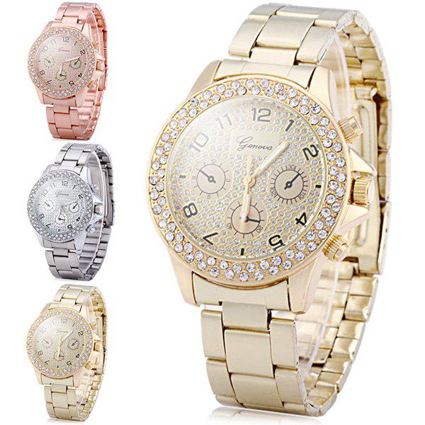 Geneva Diamond Decorative Sub-dials Quartz Watch Stainless Steel Band Women DESCRIPTION