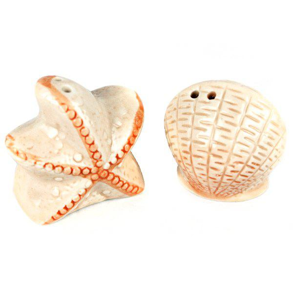 New 2pcs / Set Starfish and Shell Style Ceramics Seasoning Bottle Condiment Jar Kitchen Supplies Spice Tools