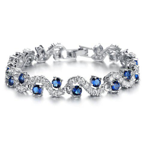 Cubic Zirconia Inlaid Wavy BraceletJEWELRY<br><br>Color: BLUE; Item Type: Charm Bracelet; Gender: For Women; Chain Type: Link Chain; Material: Rhinestone; Style: Trendy; Shape/Pattern: Geometric; Length: 17CM; Weight: 0.036kg; Package Contents: 1 x Bracelet;