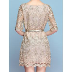 Vintage Scoop Neck Half Sleeves Embroidered Dress For Women -