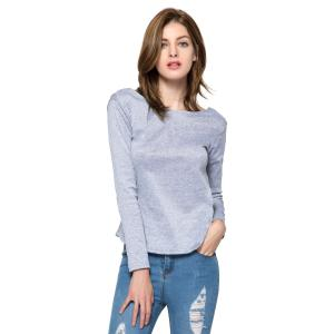 Long Sleeve Open Back T Shirt - GRAY S