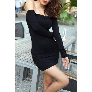 Sexy Slash Neck Off-The-Shoulder Bodycon Black Dress For Women -
