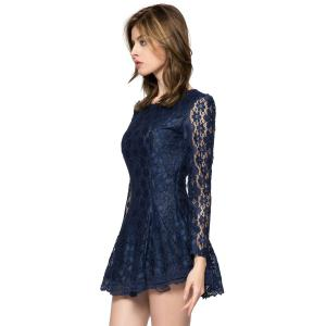 Ladylike Style Solid Color Scoop Neck Lace Long Sleeves Slimming Burnt-Out Women's Dress - SAPPHIRE BLUE M