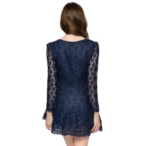 Lace Long Sleeve Mini Cocktail Dress - SAPPHIRE BLUE XL