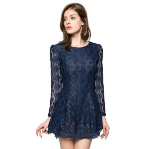 Lace Long Sleeve Mini Cocktail Dress
